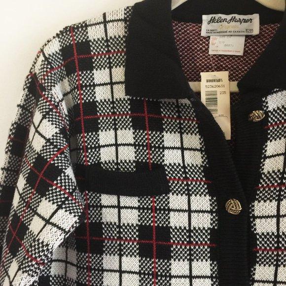 50% OFF Vintage Helen Harper plaid boxy cardigan